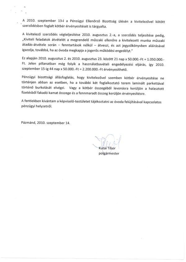 Óvoda pályázat pénzügyi elszámolása Kutai Tibor 2oldal