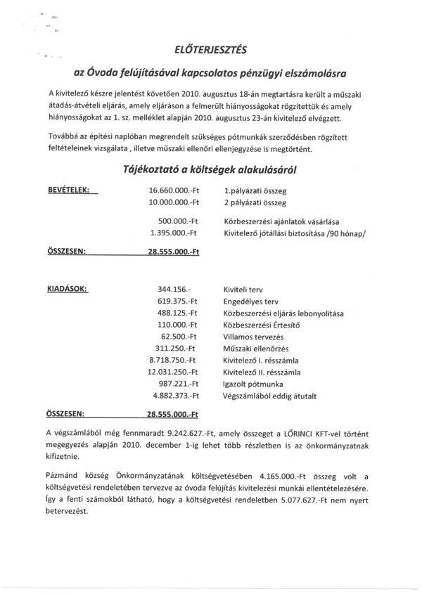 Óvoda pályázat pénzügyi elszámolása Kutai Tibor